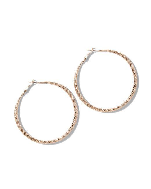 New York & Company - Metallic Textured Goldtone Hoop Earring - Lyst