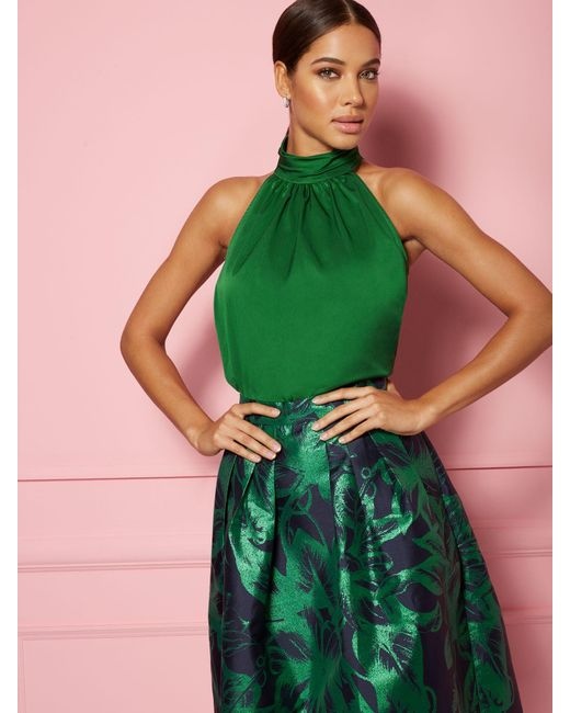 New York & Company Green Melba Halter Blouse - Eva Mendes Party Collection
