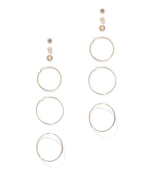 New York & Company - Metallic 6-piece Goldtone Hoop & Post Earring Set - Lyst