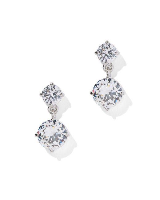 New York & Company - Metallic Cubic Zirconia Silvertone Drop Earring - Lyst