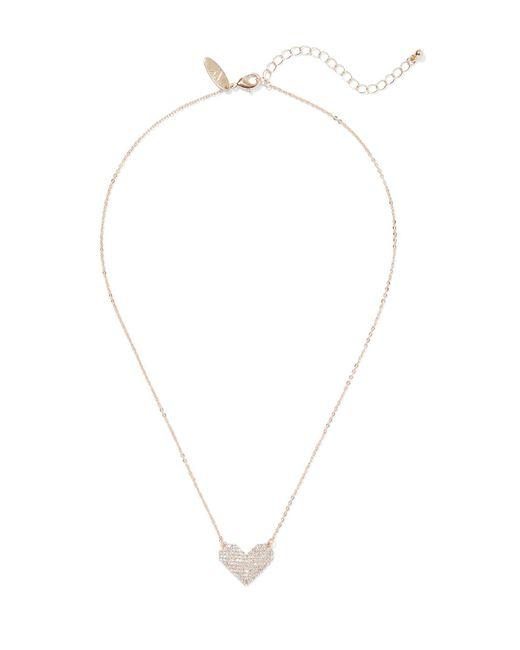 New York & Company - Metallic Goldtone Cubic Zirconia Heart Pendant Necklace - Lyst