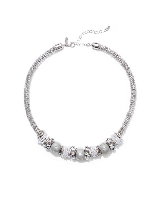 New York & Company - Metallic Faux-pearl Rondelle Necklace - Lyst