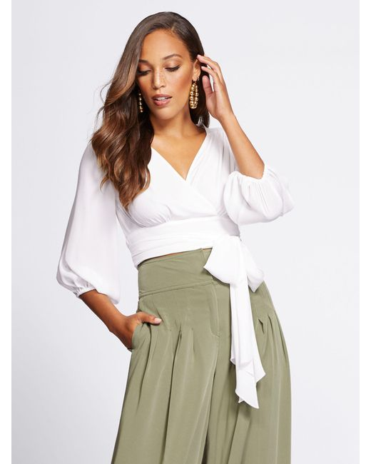 New York & Company - White Gabrielle Union Collection - Petite Crop Tie-front Blouse - Lyst
