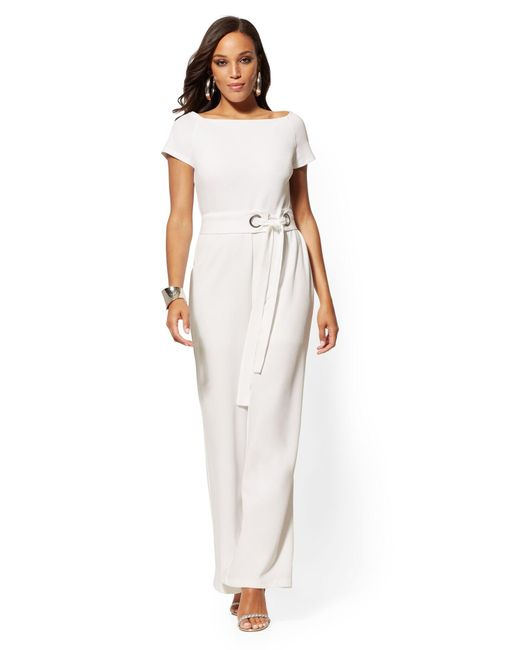 New York & Company White Belted Jumpsuit