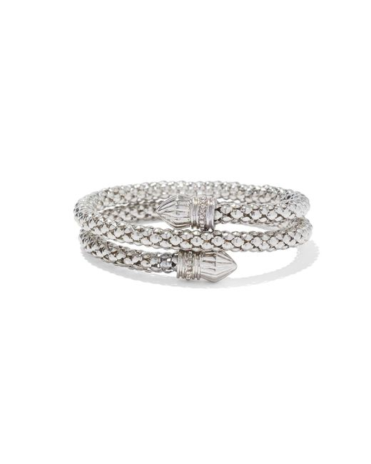 New York & Company - Metallic Silvertone Mesh Coil Bracelet - Lyst