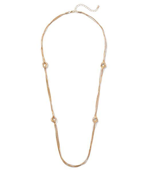 New York & Company - Metallic Goldtone Knot Station Necklace - Lyst