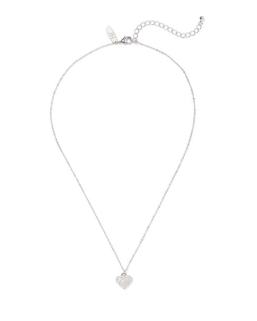 New York & Company - Metallic Silvertone Cubic Zirconia Heart Necklace - Lyst