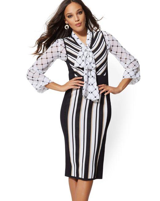 New York & Company Multicolor Stripe Sweater Sheath Dress