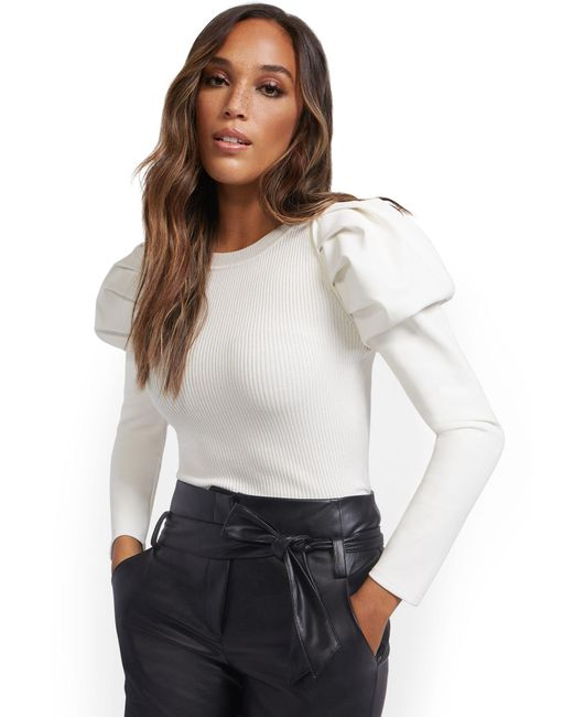 New York & Company White Faux-leather Sleeve Sweater