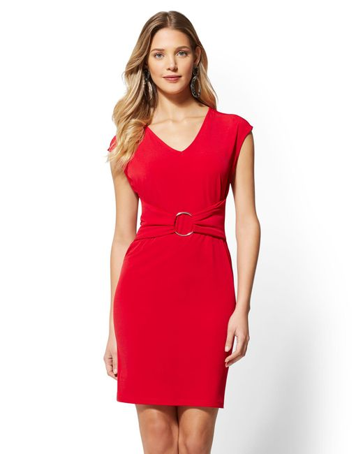 New York & Company - Red Hardware-accent V-neck Dress - Lyst