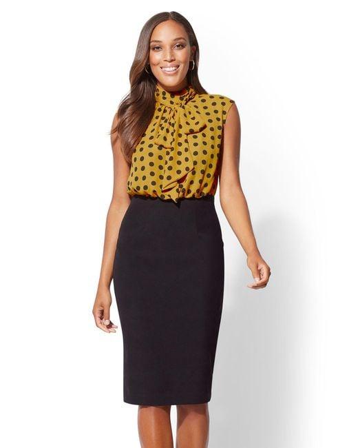 New York & Company - Metallic 7th Avenue - Bow-accent Dot-print Twofer Sheath Dress - Lyst
