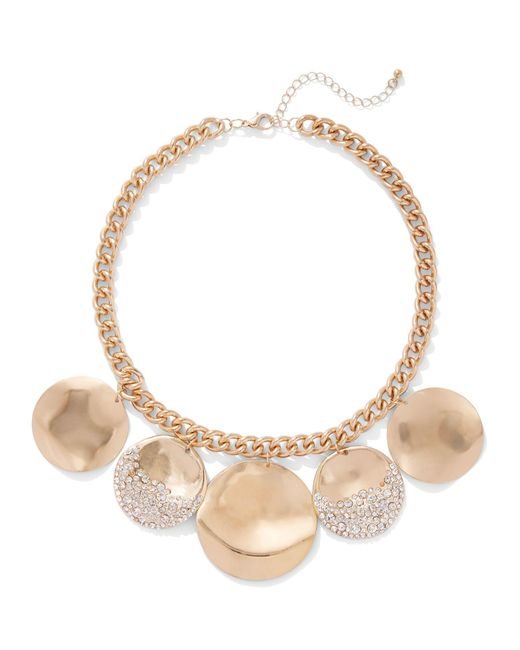 New York & Company - Metallic Glittering Goldtone Disc Necklace - Lyst