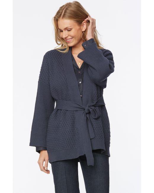 NYDJ Blue Cropped Kimono Cardigan In Oxford Navy