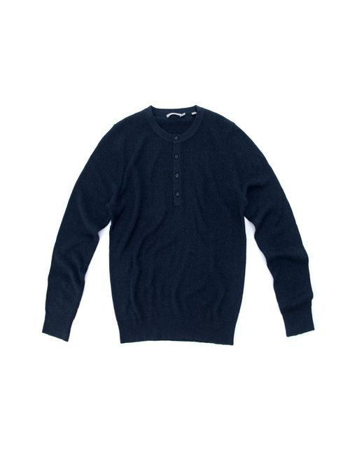 Vince - Blue Ribbed Henley for Men - Lyst