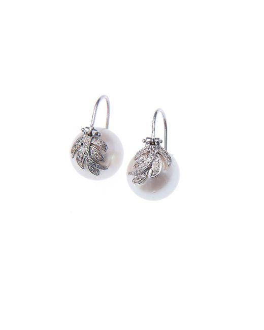 Jordan Alexander - Multicolor Pearl And Diamond Leaf Earrings - Lyst