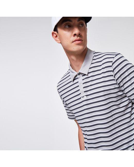 Oakley Gray Striped Piquet Polo for men