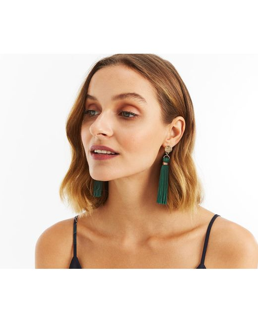 Oasis - Green Elegant Tassel Drop Earrings - Lyst