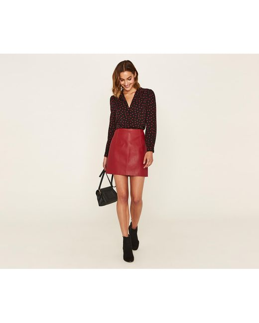 7ee3196338 Oasis - Red Faux Leather Mini Skirt - Lyst ...