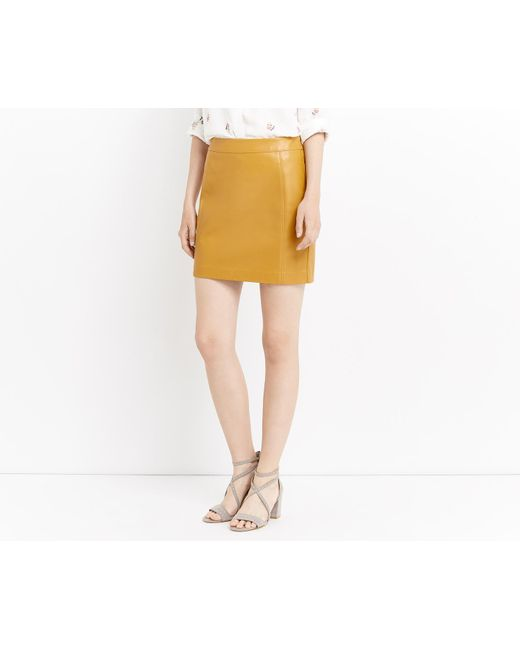 Oasis | Yellow Faux Leather Seamed Mini Skirt | Lyst