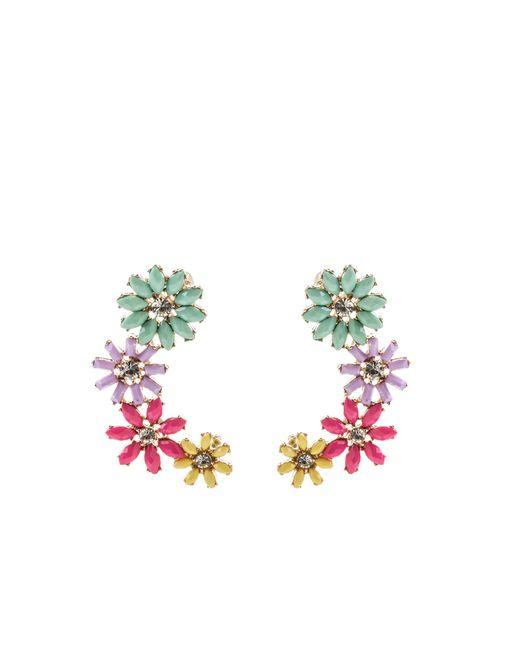 Oasis - Green Sparkle Flower Ear Crawlers - Lyst