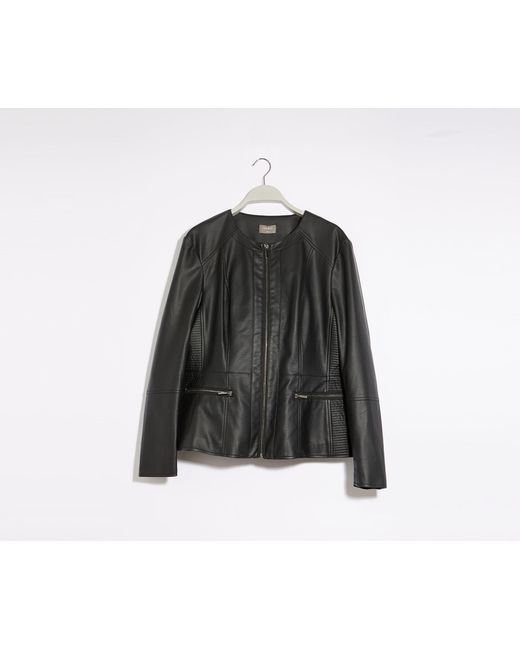 Oasis Black Curve Faux Leather Jacket