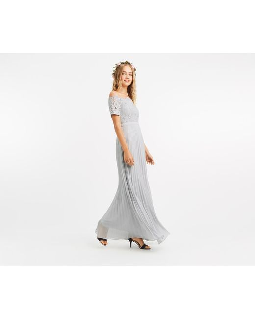 1f673b62ab Oasis - Gray Lace Bardot Maxi Dress  - Lyst ...