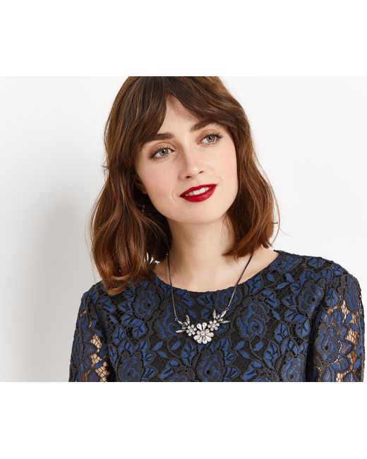 Oasis | Gray Jewelled Cluster Necklace | Lyst