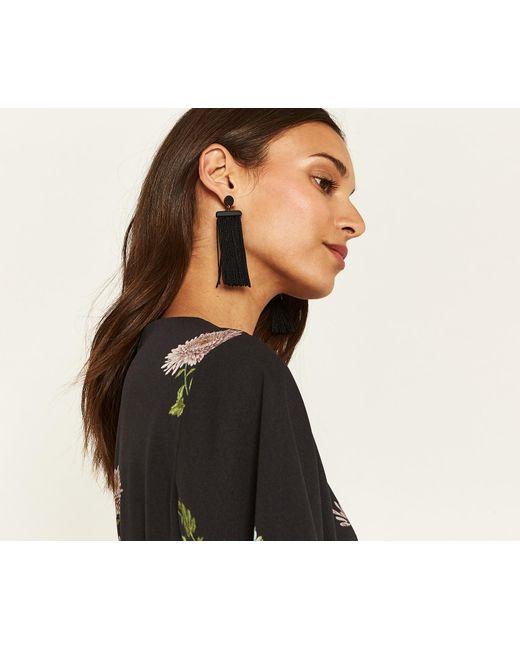 Oasis - Black Wide Tassel Earrings - Lyst