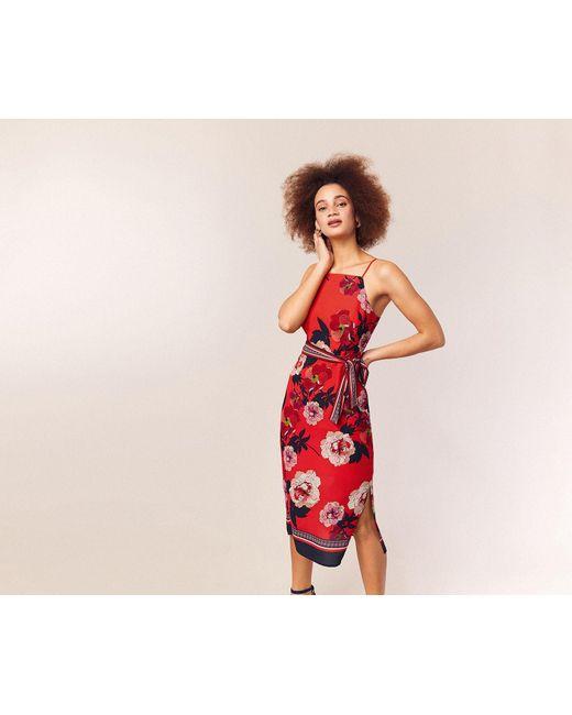 3d2b4ed78086 ... Oasis - Red Botanical Scarf Column Dress - Lyst ...