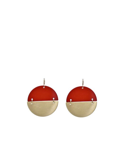 Oasis - Gold And Red Earrings - Lyst