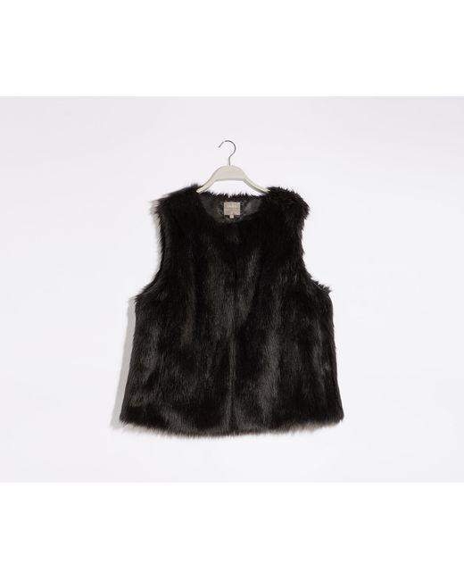 Oasis Black Curve Faux Fur Gilet