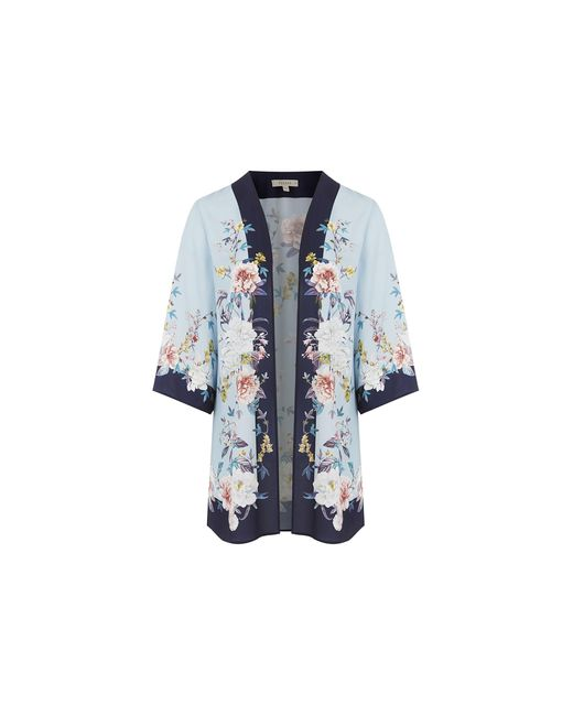 Oasis Blue Curve Floral Kimono