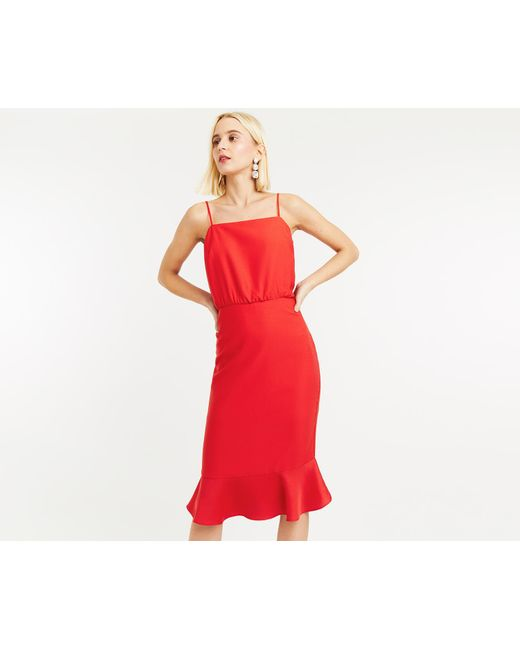 51e53932d5 Oasis - Red Satin Column Midi Dress - Lyst ...