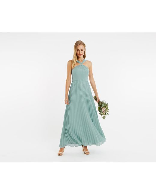 946e8a6ac82 ... Oasis - Pale Green Twist Neck Pleated Maxi Dress - Lyst ...