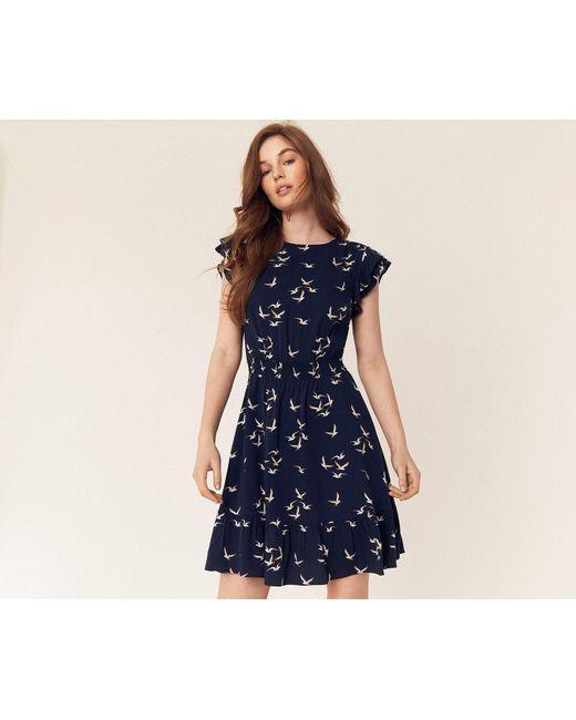 46043d3eda84 Oasis - Blue Seagull Skater Dress - Lyst ...