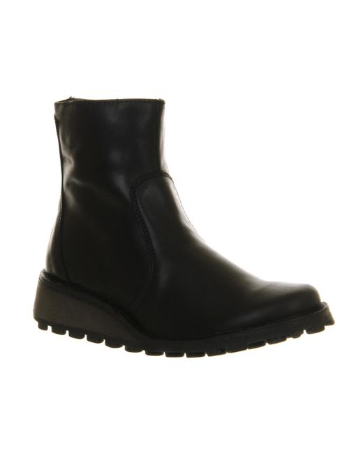 Fly London | Black Masi Low Wedge Ankle Boot | Lyst