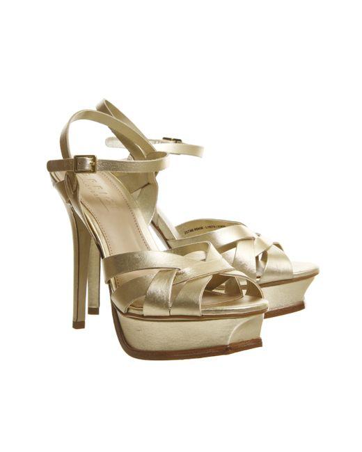 office nostalgia platform heels in chagne lyst