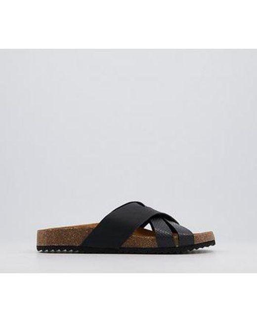 Office Black Saviour Cross Strap Footbed Sandals