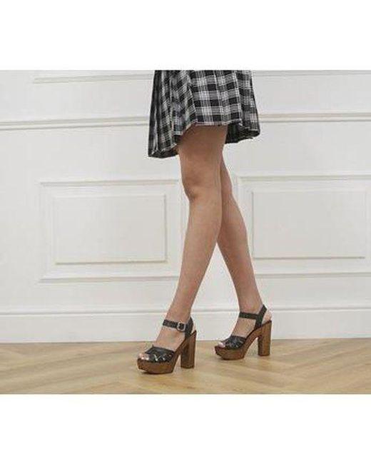 Office Black Hesse Wood Block Heel Sandals