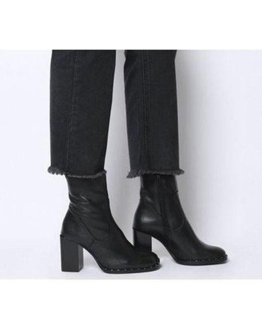 Office Black Antelope- Studded Rand Block Heel