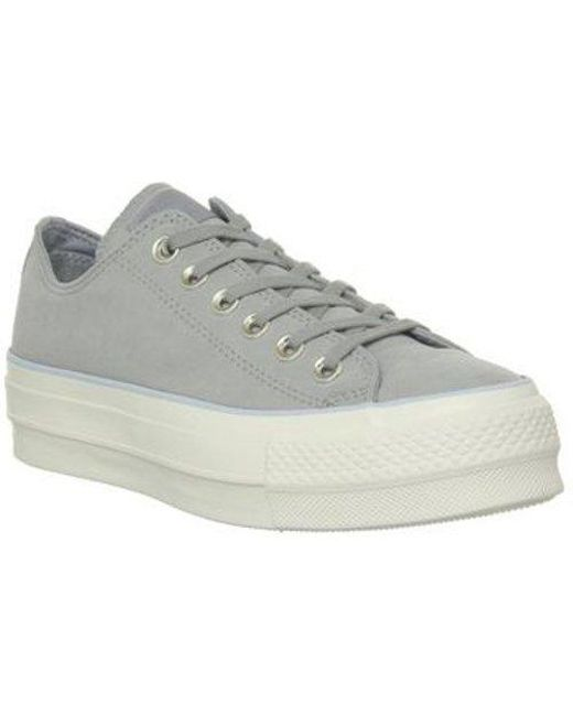 c2e744f97d6a Converse all Star Low Platform Trainers By Office in Gray - Save 41 ...