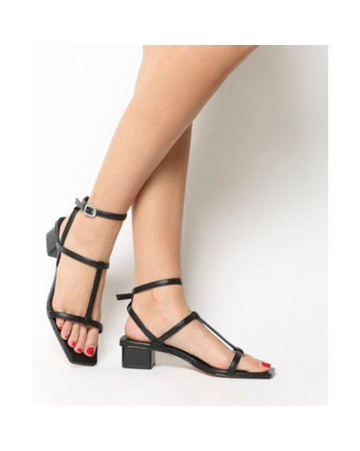 Office - Black Miley Square Toe Strappy Sandal - Lyst