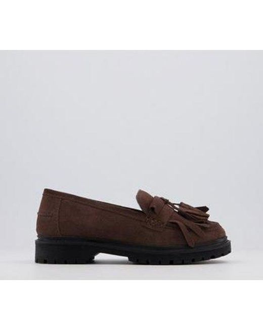 Office Brown Fringe Cleated Loafers