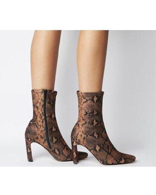 Office Brown Amore Block Heel Sock Boot