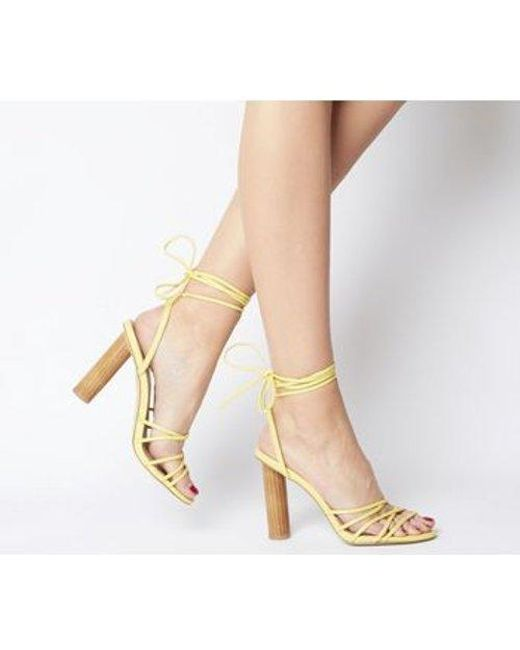 Office Yellow Heartbeat Tie Up Cylindrical Stack Heel