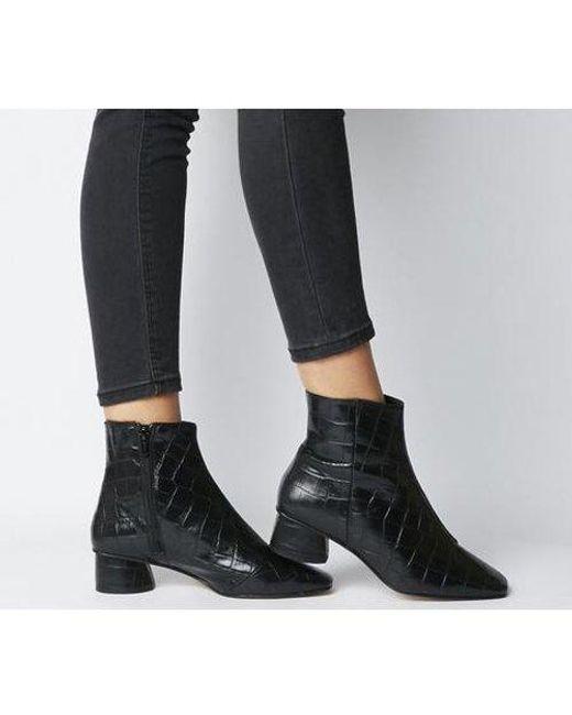 Office Black Almond- Low Block Heel Boot