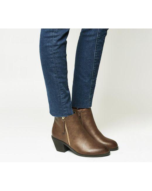 Office | Brown Anita Side Zip Western Mid Boots | Lyst