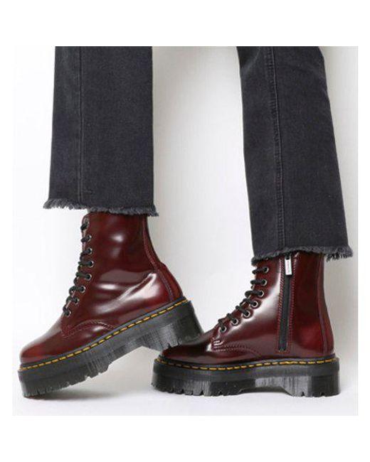679e34a9cf36 Lyst - Dr. Martens V Jadon 8 Eye Boot in Red