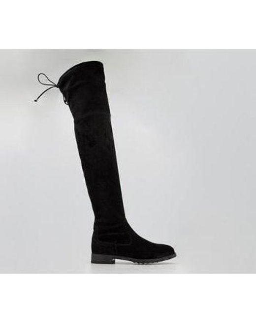 Office Black Keeper - Flat Lace Back Knee Boots