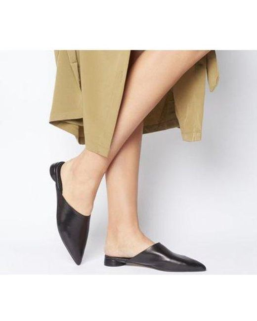 Office Black Flan Point Mule Cylindrical Heel